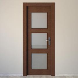 Bloco de porta interior VIENA WENGUÉ PARA VIDRO 62.5X203CM ESQUERDA