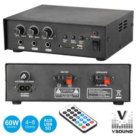 Amplificador Áudio 12/220v 3 Entradas 30w Mp3/Usb/Sd Vsound