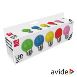 Conjunto 5 Lâmpadas E27 1W LED Globo G45 Cores 30lm AVIDE