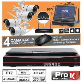 Vídeo-Gravador Digital Ip 4 Canais Wireless H264 C/Lcd Prok