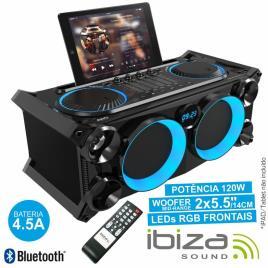 Sistema De Som Portatil Preto 120w Usb/Bt/Fm Ibiza
