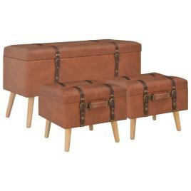 3 Bancos VIDAXL arrumação couro artificial bronze