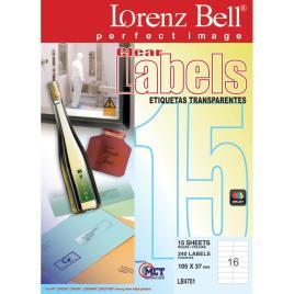 LORENZ BELL Etiquetas Transparentes 105x37mm 15 Folhas