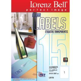 LORENZ BELL Etiquetas Transparentes 210x297mm 15 Folhas