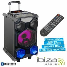 COLUNA AMPLIFICADA 350W MIC/USB/SD/BT/BAT LED MESA IBIZA