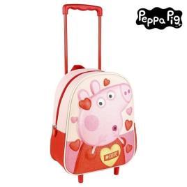 PEPPA PIG - Mochila Escolar 3D com Rodas Peppa Pig Cor de rosa