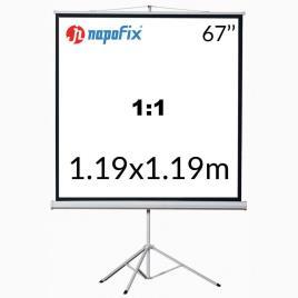 NAPOFIX Tela de Projeção com Tripé T11-1280, 1250 x 1250 mm