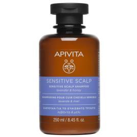 Apivita sensível shampoo de couro sensível ao cabelo alfazema e mel 250ml