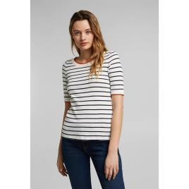 Esprit - Esprit T-shirt de gola redonda, mangas curtas, às riscas