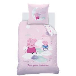 PEPPA PIG - Peppa Pig Conjunto capa de edredon + fronha, Porquinha Peppa