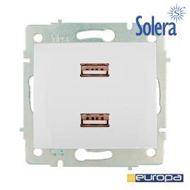 SOLERA - CARREGADOR DUPLO USB 230V 5V 4200mA BRANCO DE EMBUTIR ERP2USB S.EUROPA SOLERA
