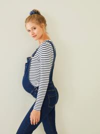 VERTBAUDET - Jardineiras em ganga stretch, para grávida azul escuro liso